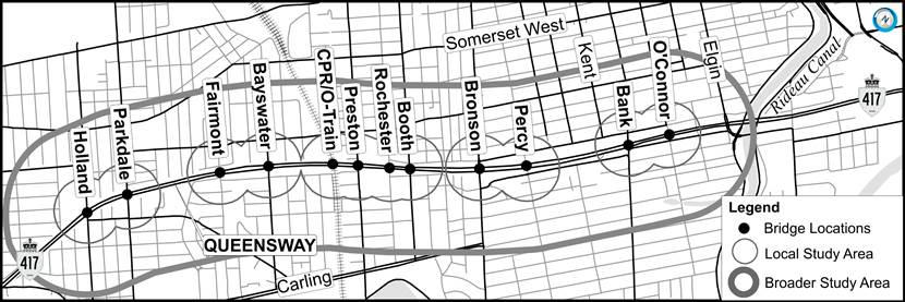 Preliminary Design and Environmental Assessment Study for the Rehabilitation / Replacement of Ottawa Queensway Mid-town Bridges from Holland Avenue to O'Connor Street (G.W.P. 4075-11-00) – Notice of Submission of Transportation Environmental Study
