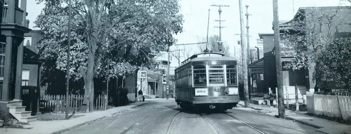 October 28th, 1951 - A streetcar travelling east on Powell Avenue, photographed from the rear, again showing the gauntlet track. Hogan's can be seen in the distance. (Source: Ottawa's Streetcars, page 173. Copyright photo by Omer Lavallée used with permission of publisher, Railfare Enterprises Limited.)